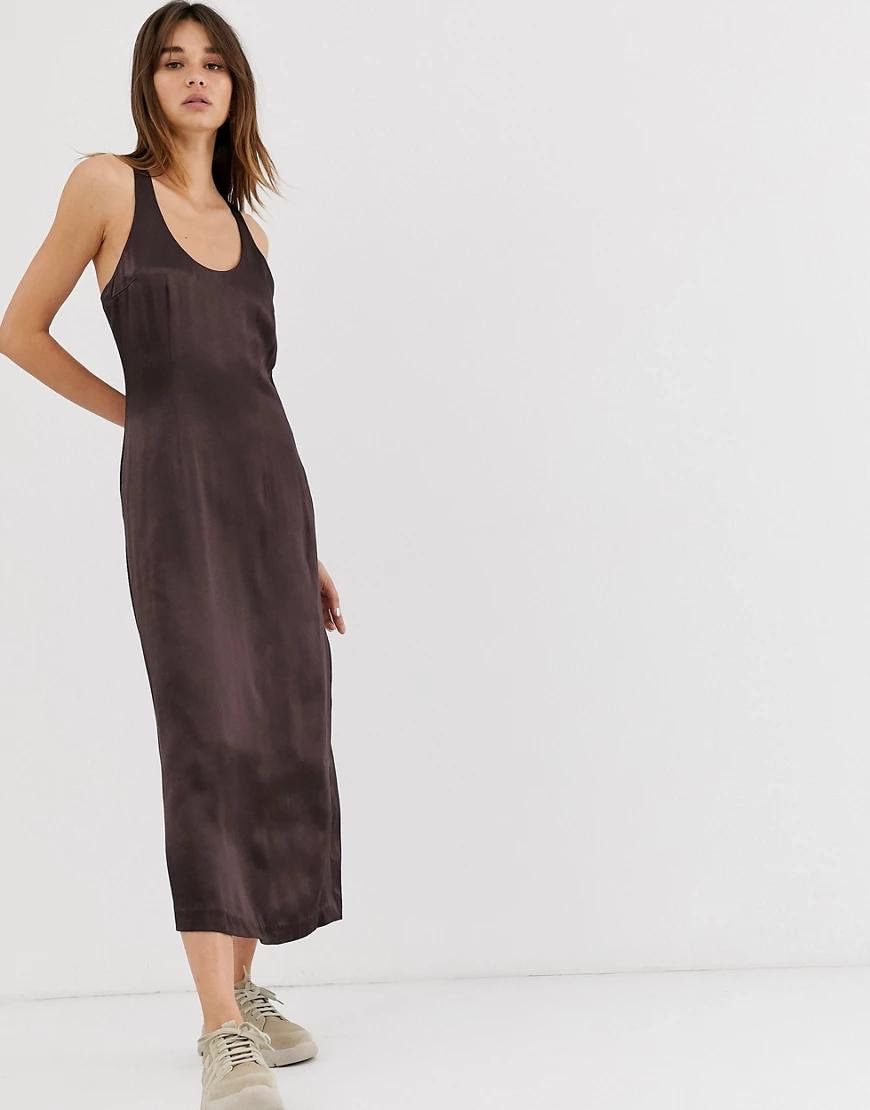 Weekday | Атласное платье миди ограниченной серии Wеекdау-Коричневый | Clouty