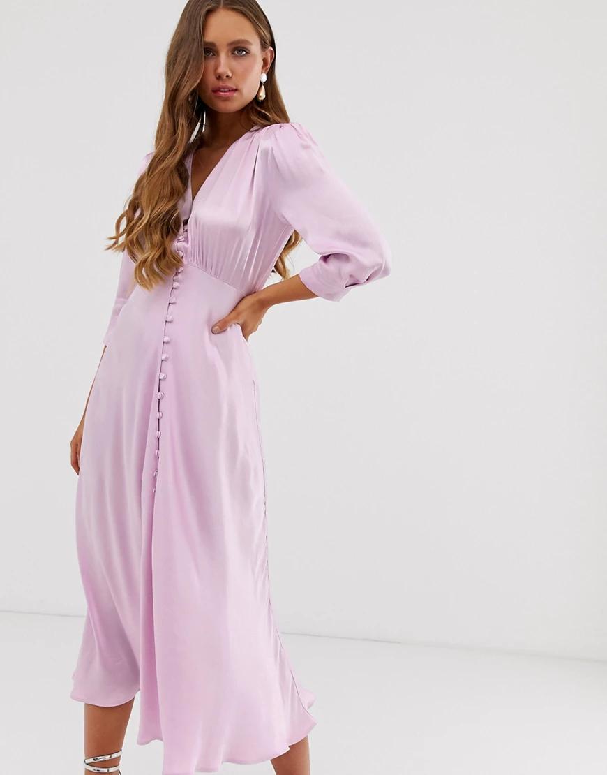 Ghost | Атласное платье миди с пуговицами спереди Ghost Маddisоп-Фиолетовый | Clouty