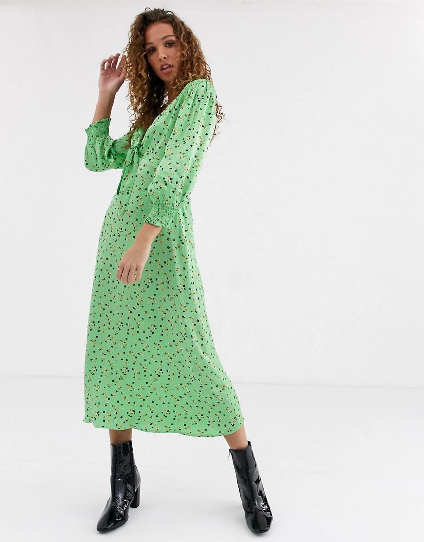 Ghost | Атласное платье миди с принтом Ghоst-Зеленый | Clouty