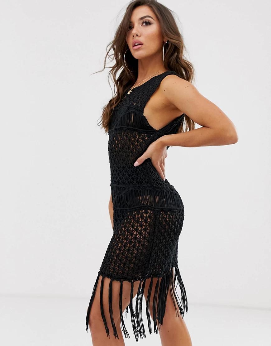 ASOS DESIGN | Ажурное премиум-платье мини ручной работы ASOS DESIGN-Черный | Clouty