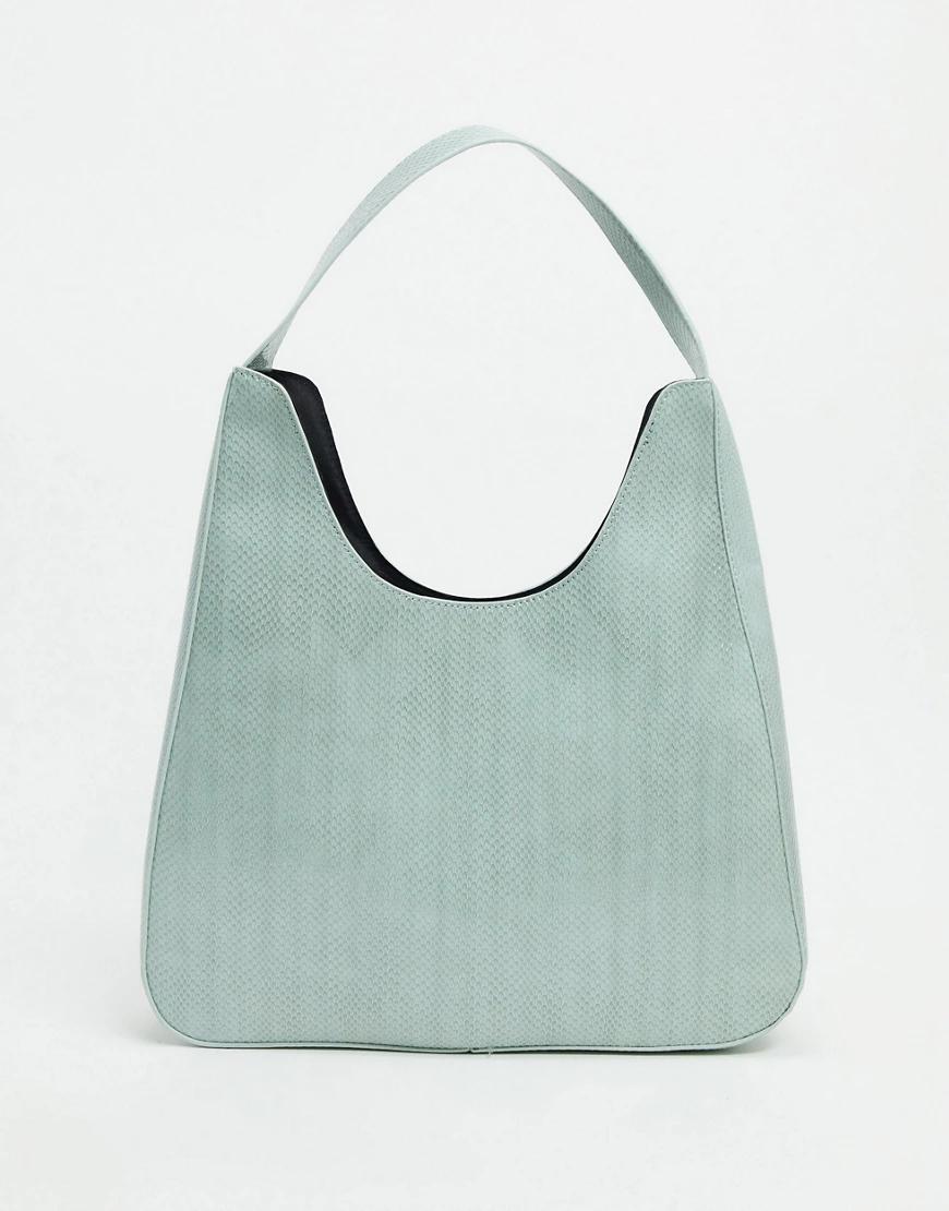 ASOS DESIGN | Большая зеленая сумка-шоппер с отделкой под рептилию ASOS DЕSIGN-Зеленый | Clouty