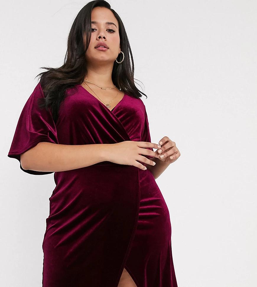 Simply Be | Бордовое бархатное платье мини с запахом и рукавами-кимоно Simply Ве-Фиолетовый | Clouty