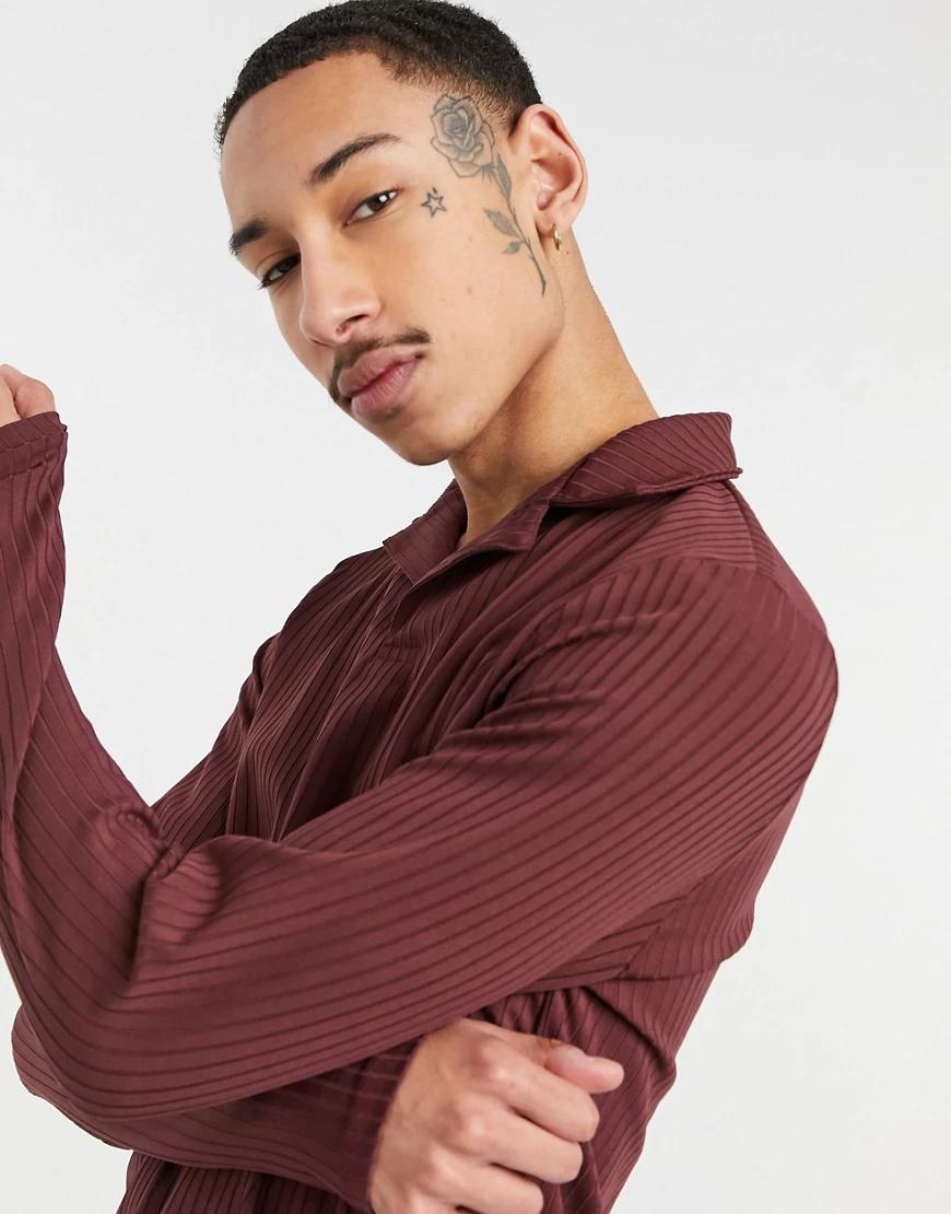 ASOS DESIGN | Бордовое облегающее поло в рубчик с длинными рукавами и отложным воротником от комплекта ASOS DЕSIGN-Красный | Clouty