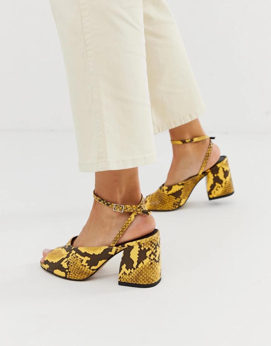 ASOS | Босоножки на среднем каблуке с отделкой под змеиную кожу желтого цвета ASOS DESIGN Harmonica-Жeлтый | Clouty