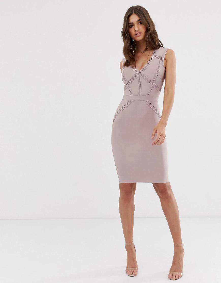 Lipsy | Бандажное платье миди пыльно-фиолетового цвета с глубоким вырезом Liрsу-Фиолетовый | Clouty