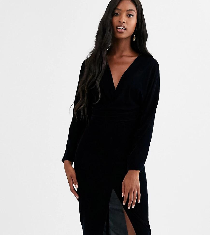 ASOS DESIGN | Бархатное платье миди с запахом ASOS DESIGN Таll-Черный цвет | Clouty