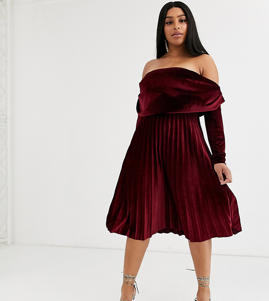 ASOS DESIGN   Бархатное платье миди с длинными рукавами и открытыми плечами ASOS DESIGN Сиrvе-Красный   Clouty
