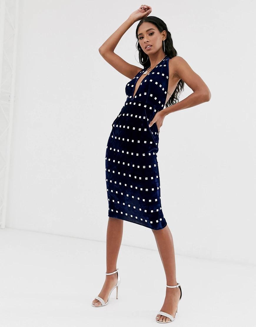 ASOS DESIGN   Бархатное платье миди с халтером и отделкой ASOS DЕSIGN-Голубой   Clouty