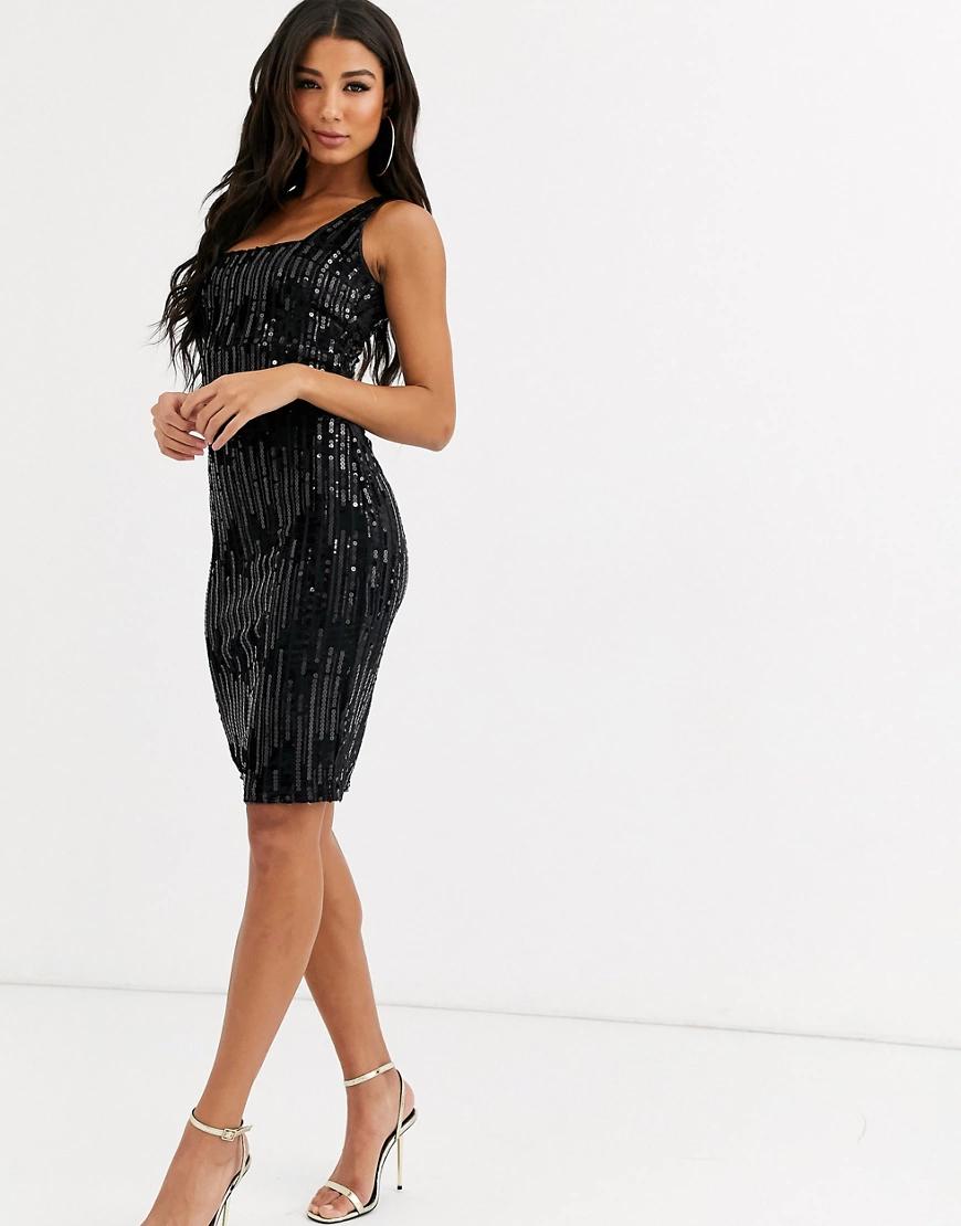 RA-RE | Бархатное платье миди с квадратным вырезом Rare London-Черный цвет | Clouty