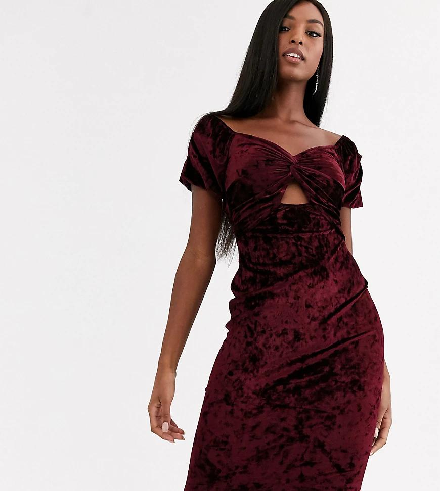 Flounce London    Бархатное платье миди с открытыми плечами Flounce London Таll-Красный   Clouty