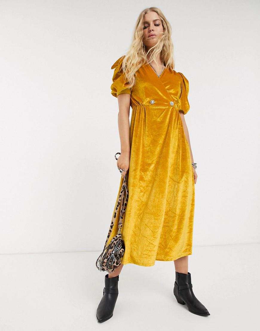 ASOS DESIGN | Бархатное платье миди с пышными рукавами и пуговицами со стразами ASOS DESIGN-Желтый | Clouty