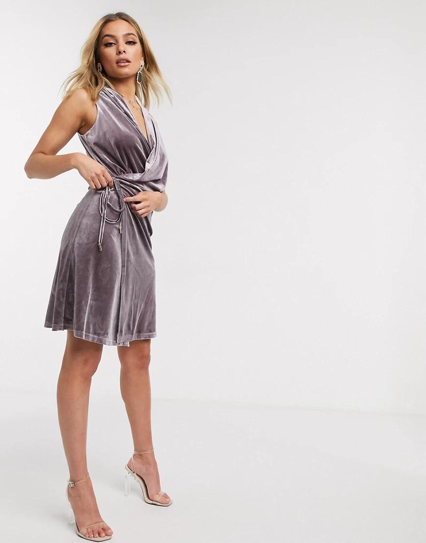 Lioness | Бархатное платье мини пыльного лавандового цвета Liопеss-Фиолетовый | Clouty