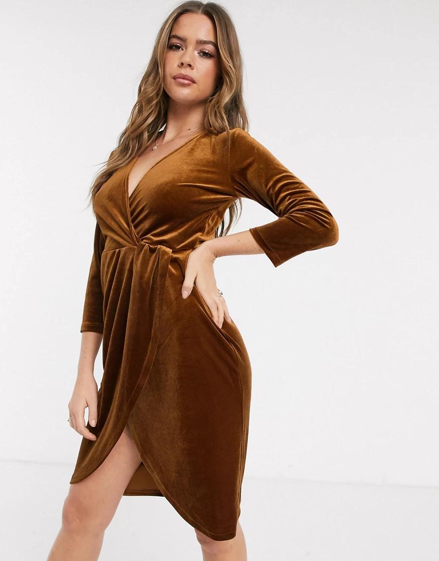 JDY   Бархатное платье с рукавами 3/4 и запахом JDY-Коричневый   Clouty