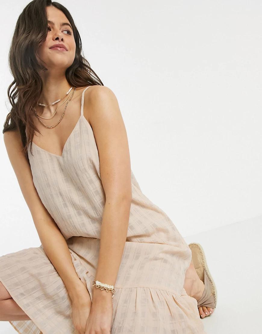 Y.A.S. | Бежевое фактурное платье-комбинация миди Y.А.S-Бежевый | Clouty