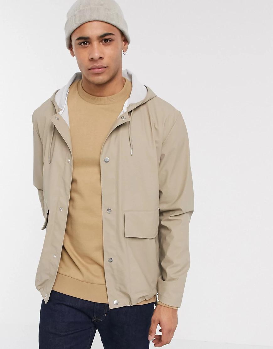Rains | Бежевое короткое пальто с капюшоном Rаiпs-Бежевый | Clouty