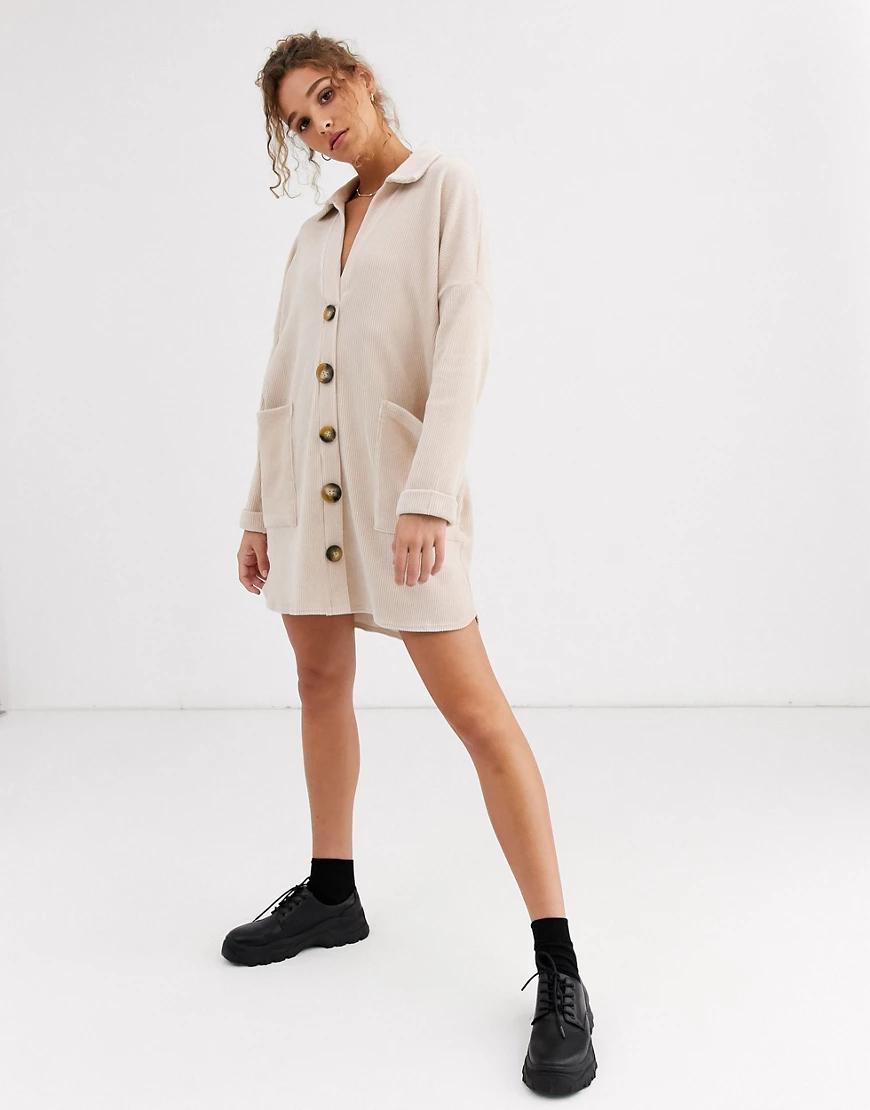 ASOS DESIGN | Бежевое вельветовое платье-рубашка миди в стиле oversized ASOS DESIGN-Neutral | Clouty