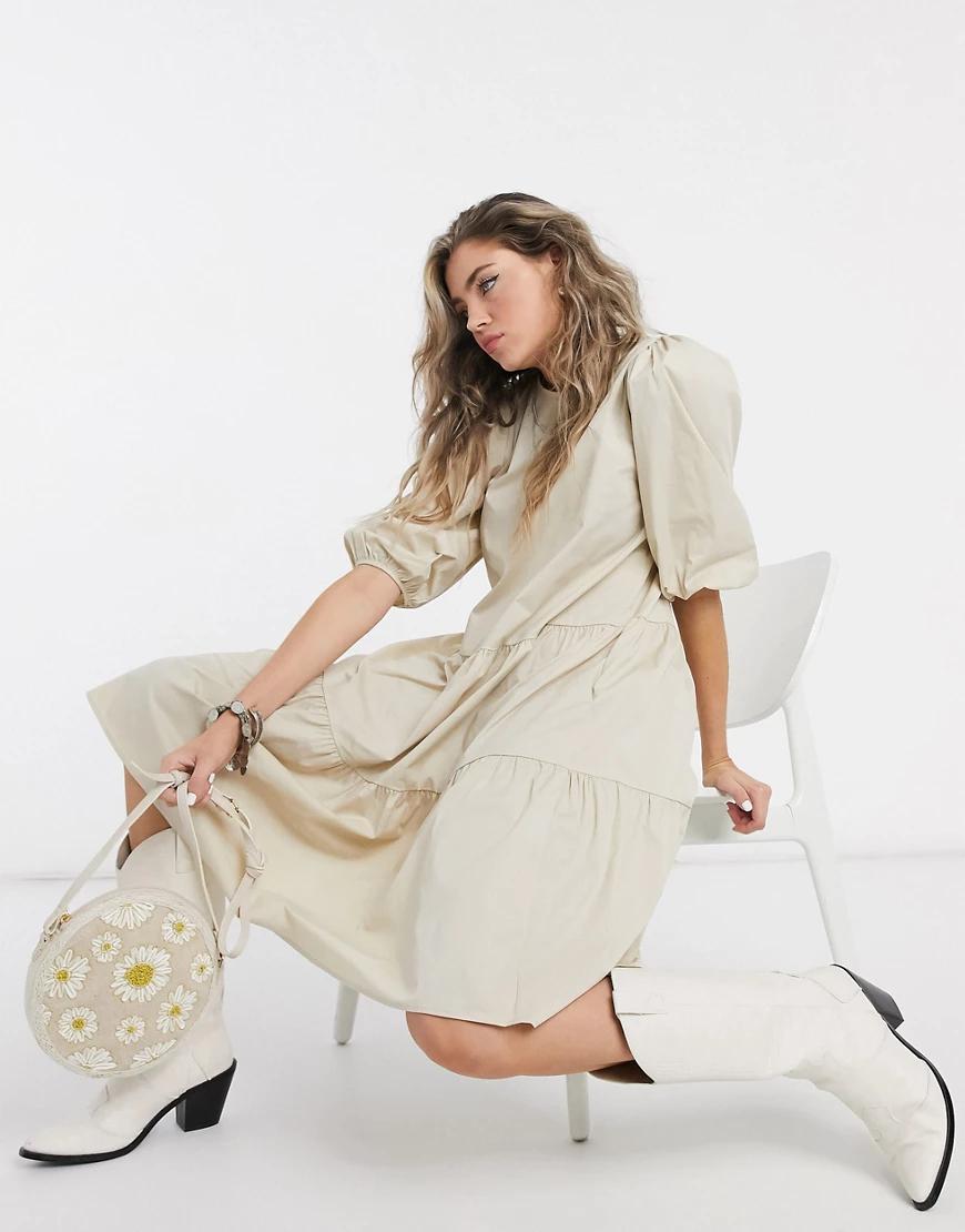 Object | Бежевое ярусное платье миди с рукавами 3/4 Object-Neutral | Clouty