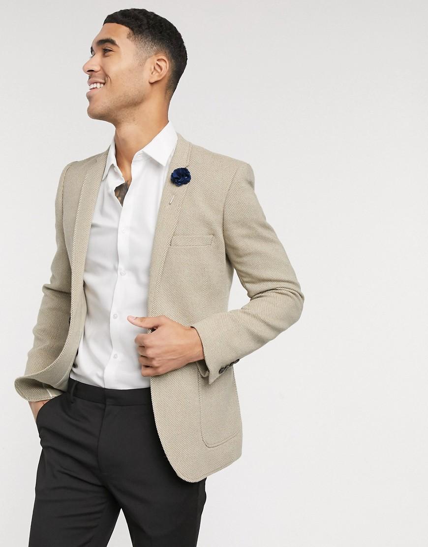 ASOS DESIGN | Бежевый супероблегающий пиджак из ткани с добавлением шерсти ASOS DESIGN wedding | Clouty