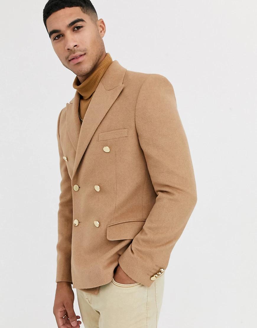ASOS DESIGN | Бежевый приталенный двубортный пиджак с золотистыми пуговицами ASOS DESIGN-Neutral | Clouty