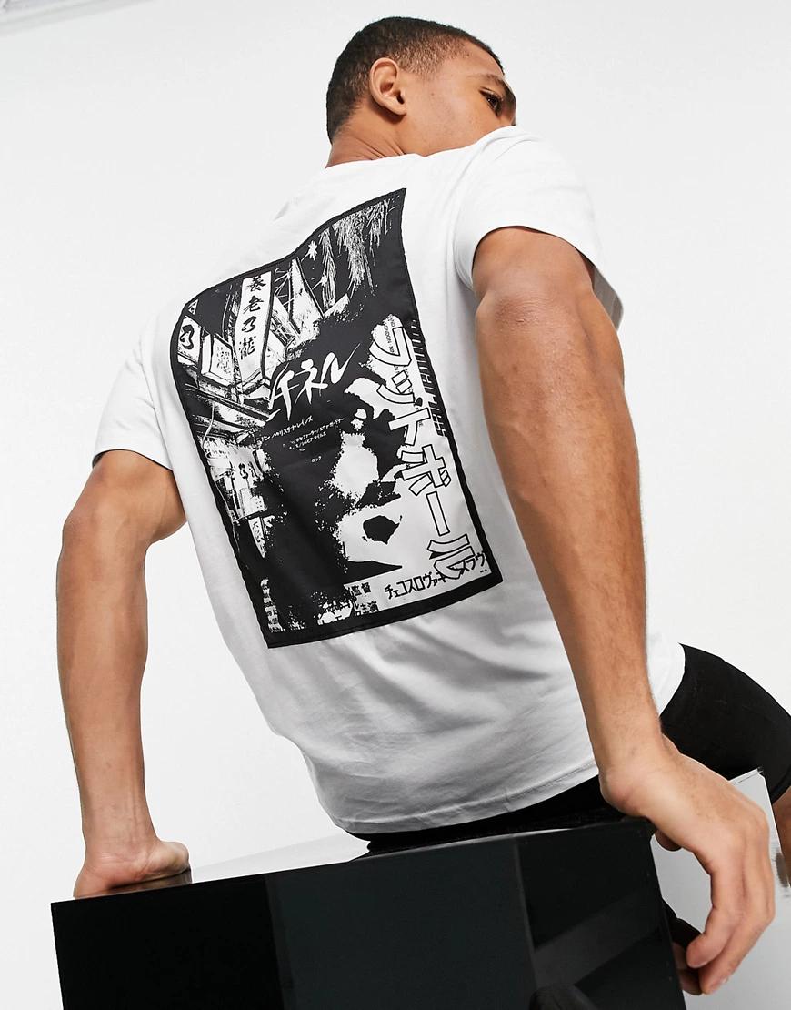 River Island | Белая футболка классического кроя с японским принтом River Island-Бeлый | Clouty