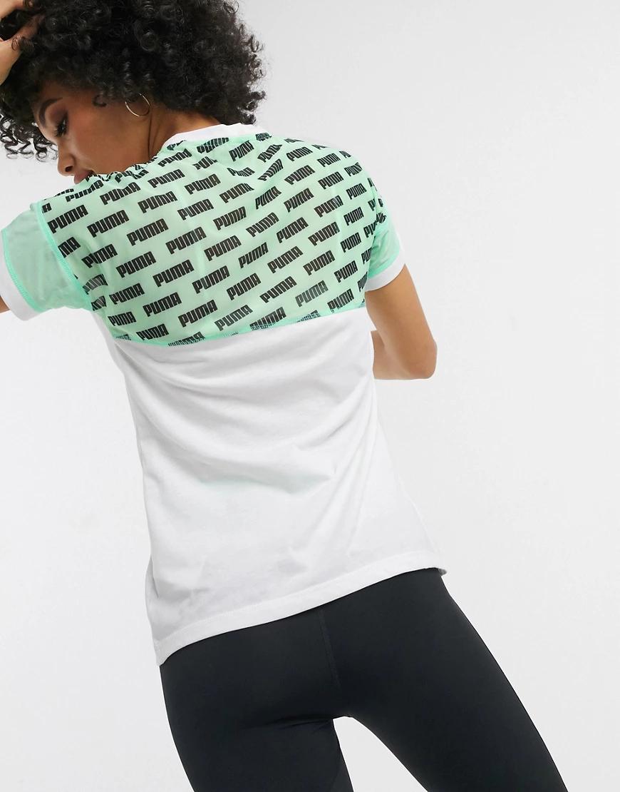 Puma | Белая футболка с зелеными сетчатыми вставками и логотипом Риmа-Белый | Clouty