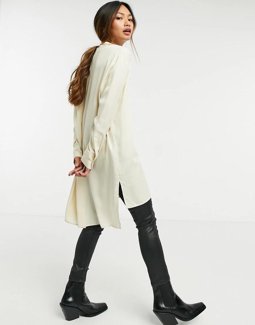 Selected   Белая удлиненная рубашка без воротника Selected Femme-Белый   Clouty