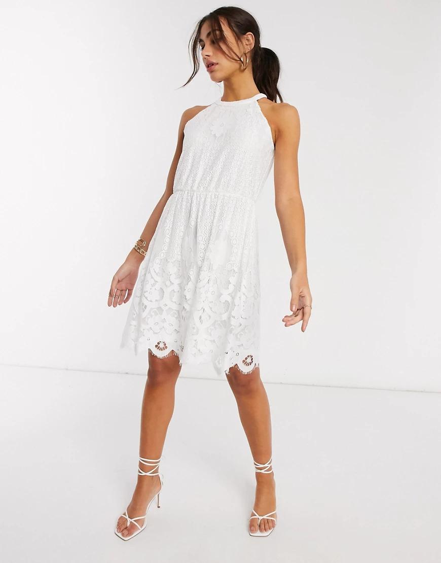 Vila | Белое кружевное платье мини Vilа-Белый | Clouty