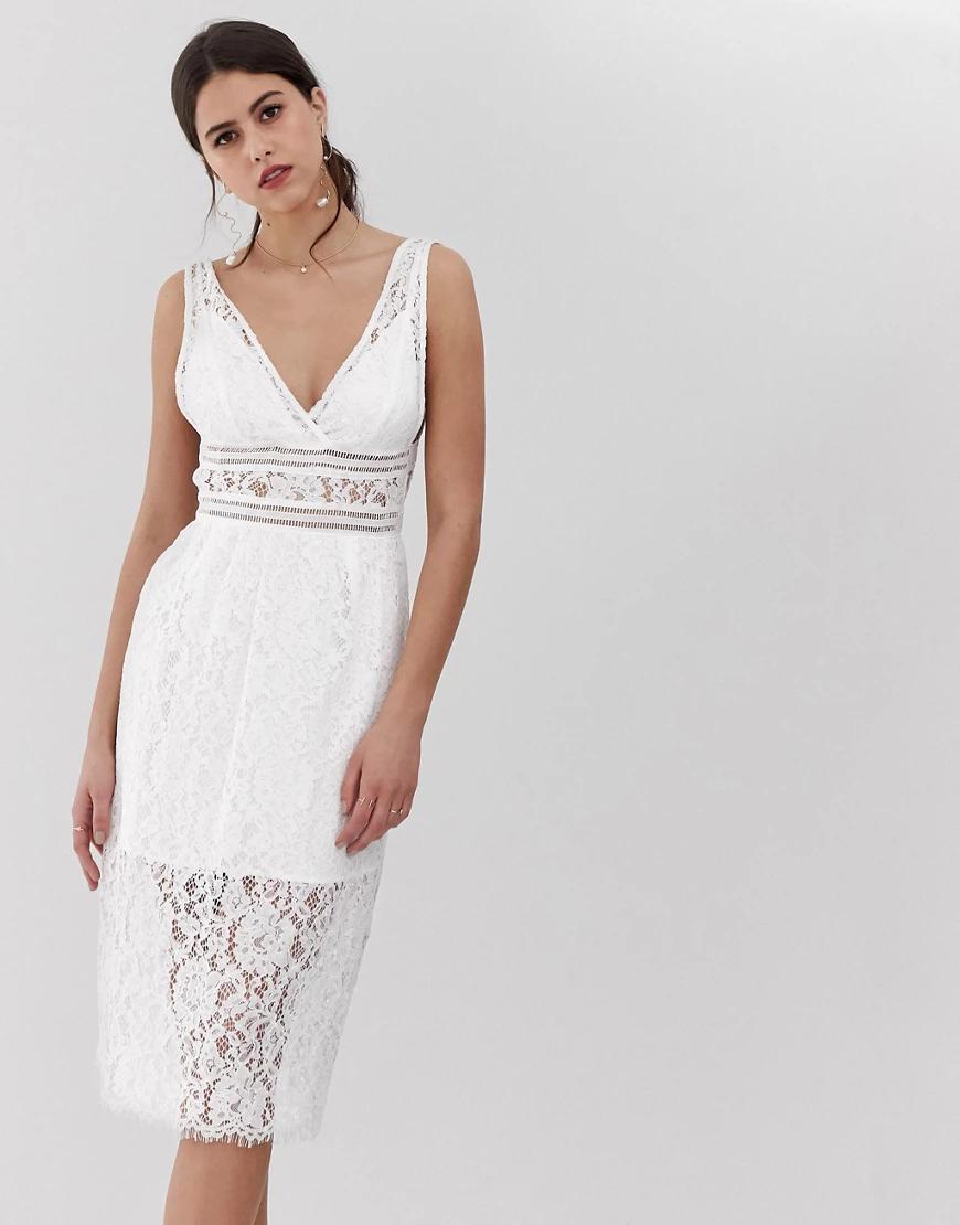 Y.A.S.   Белое кружевное платье миди с V-образным вырезом Y.А.S-Белый   Clouty