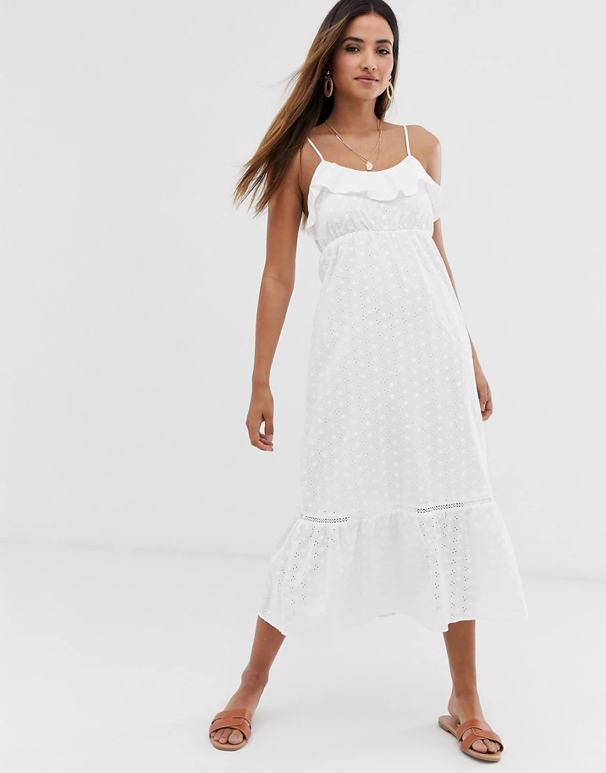 Stradivarius | Белое платье макси Stradivarius-Бeлый | Clouty