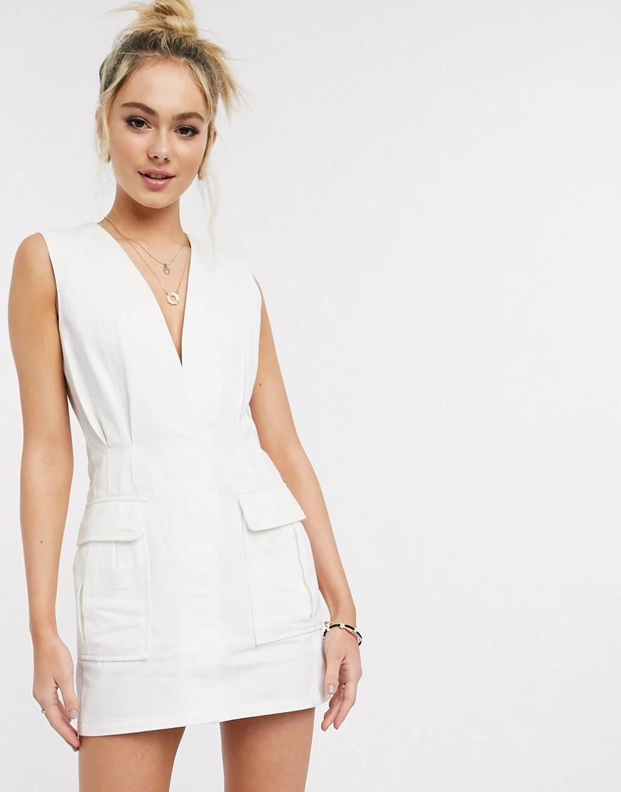 Skylar Rose | Белое платье мини в стиле милитари Skylar Rоsе-Белый | Clouty