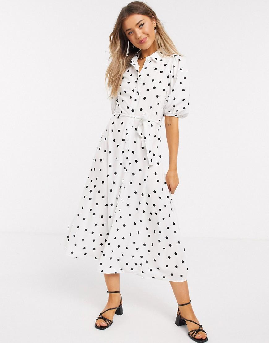 New Look | Белое платье-рубашка миди в горошек с пышными рукавами New Lоок-Белый | Clouty