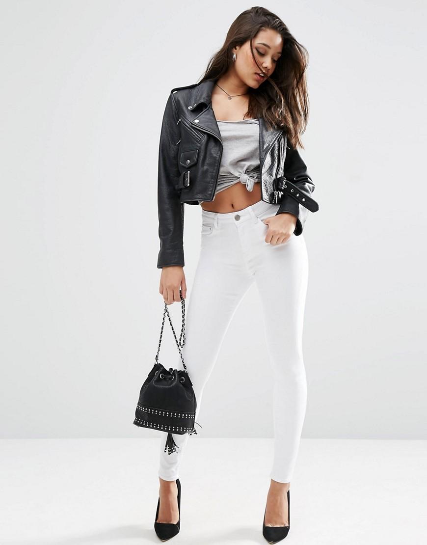 ASOS DESIGN | Белые джинсы скинни с завышенной талией ASOS DESIGN-Бeлый | Clouty