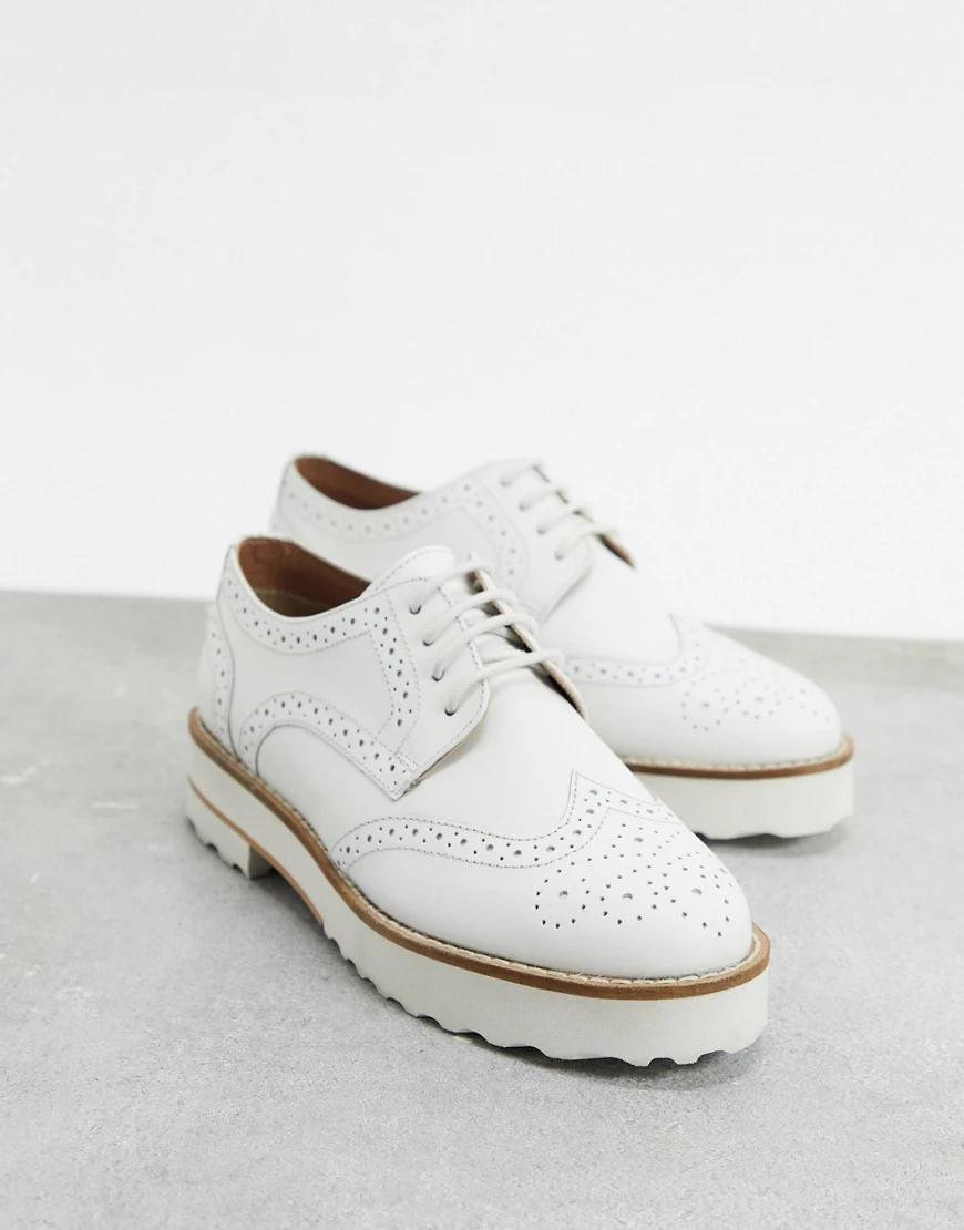 ASOS DESIGN | Белые кожаные броги ASOS DESIGN-Бeлый | Clouty