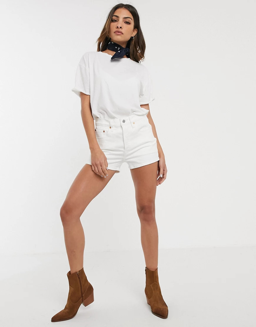 Levi's   Белые шорты с завышенной талией Levi's 501-Белый   Clouty