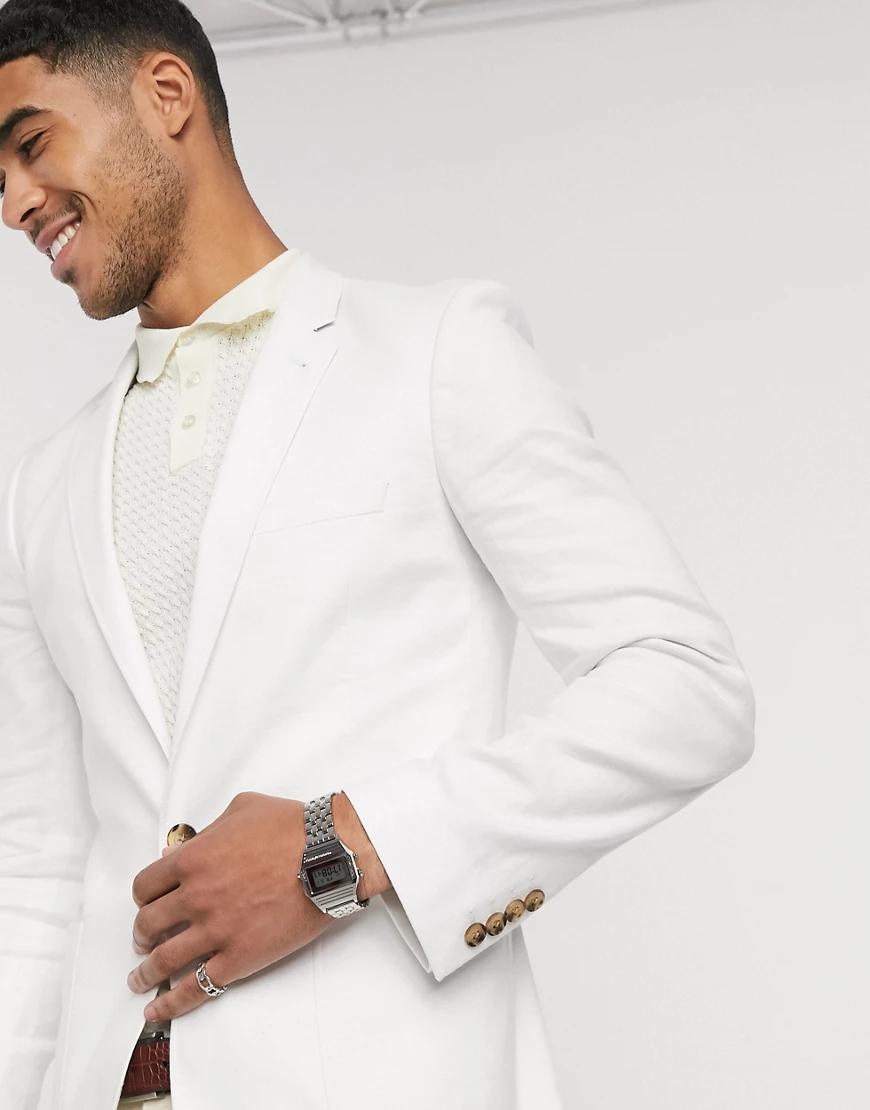 ASOS DESIGN   Белый супероблегающий льняной пиджак ASOS DESIGN   Clouty