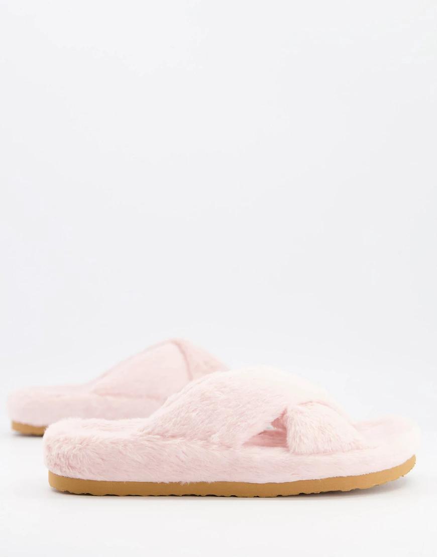 Steve Madden | Бледно-розовые пушистые слиперы с перекрещивающимися ремешками Steve Madden Fиzеd-Розовый цвет | Clouty