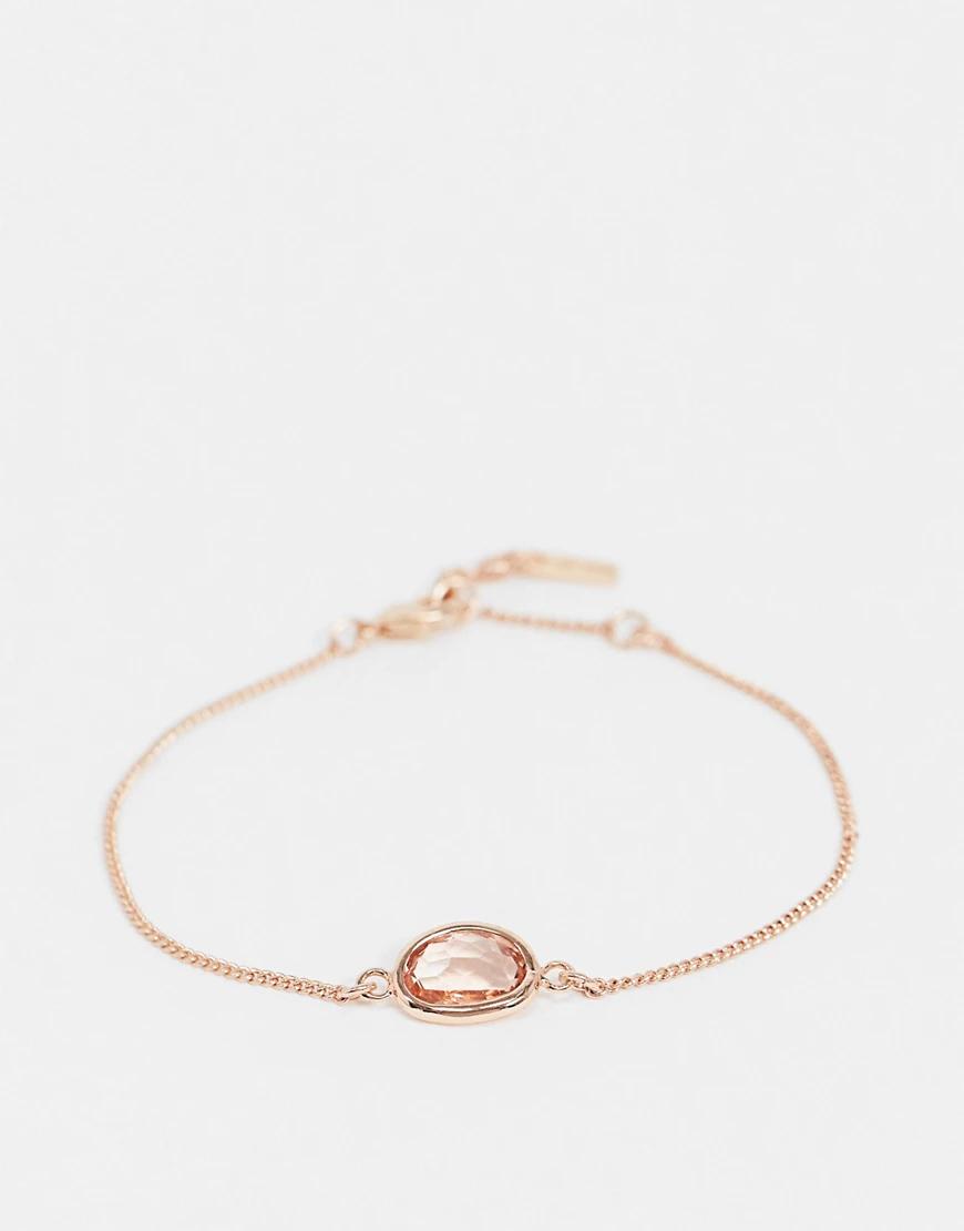 Pilgrim | Браслет с покрытием из розового золота и камнем из прозрачного стекла Pilgrim-Розовый | Clouty