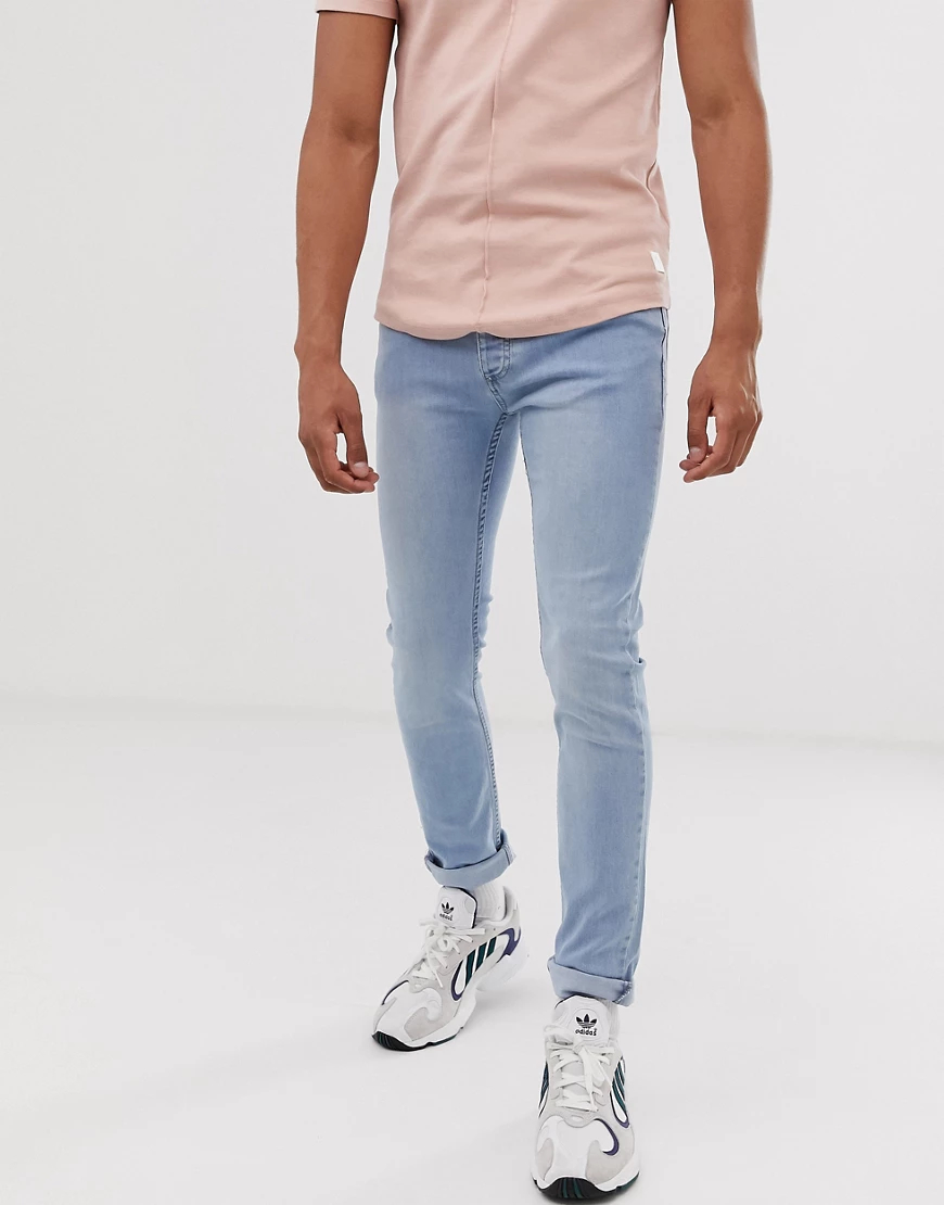 Topman | Голубые джинсы скинни Topman-Cepый | Clouty