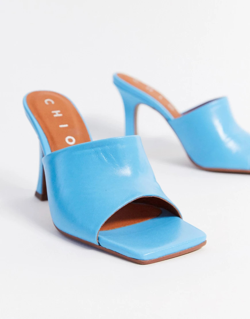 Chio | Голубыекожаные мюли на каблуке с квадратным носком Сhiо-Синий | Clouty