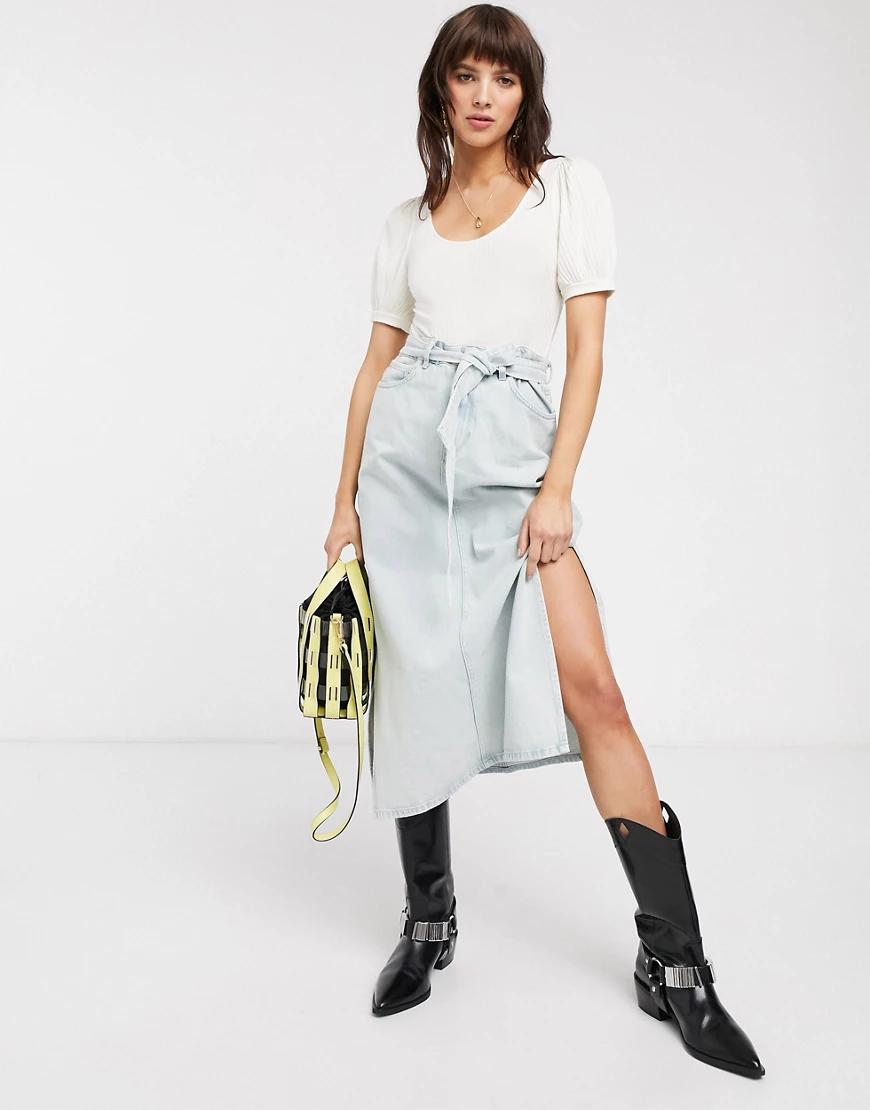 Selected   Голубая джинсовая юбка миди с поясом Selected Femme-Синий   Clouty