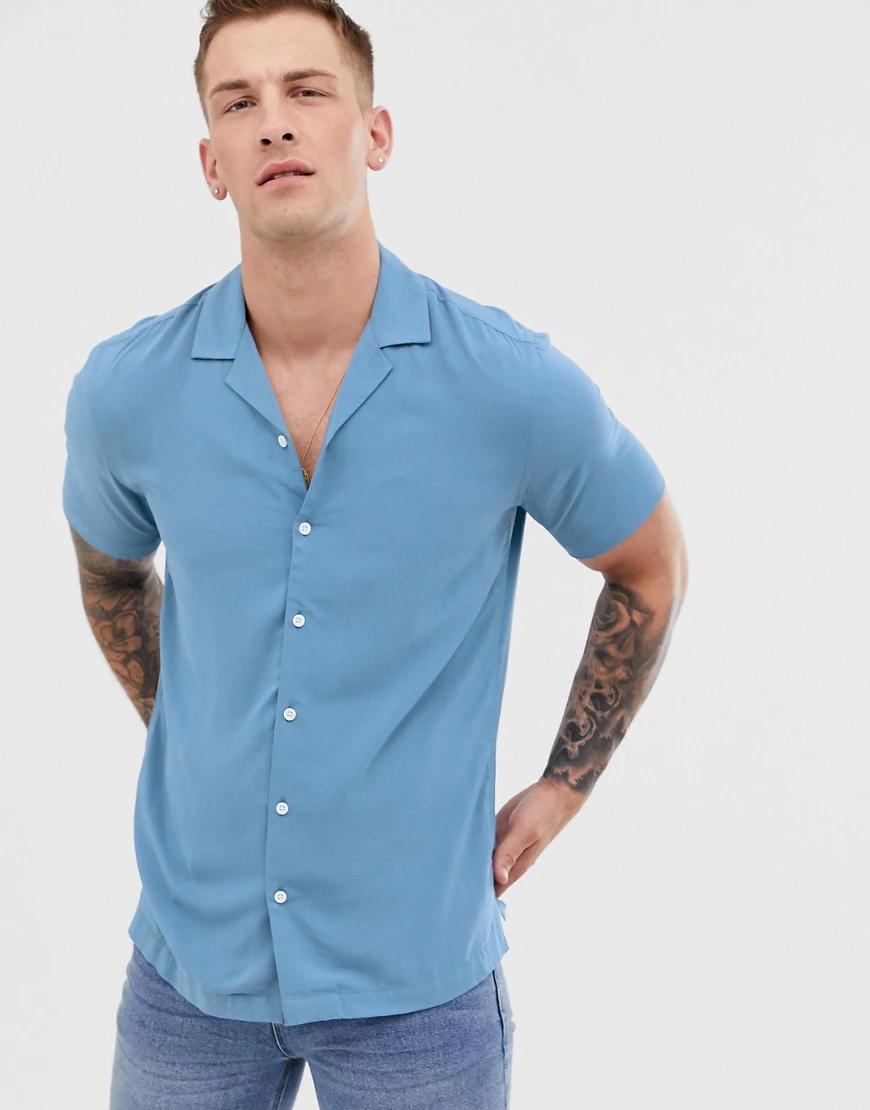 ASOS DESIGN | Голубая рубашка классического кроя из вискозы ASOS DESIGN-Cuнuй | Clouty