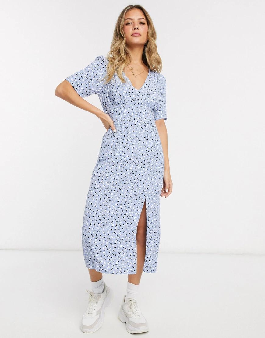 Miss Selfridge | Голубое чайное платье миди с цветочным принтом Miss Selfridge-Cuнuй | Clouty