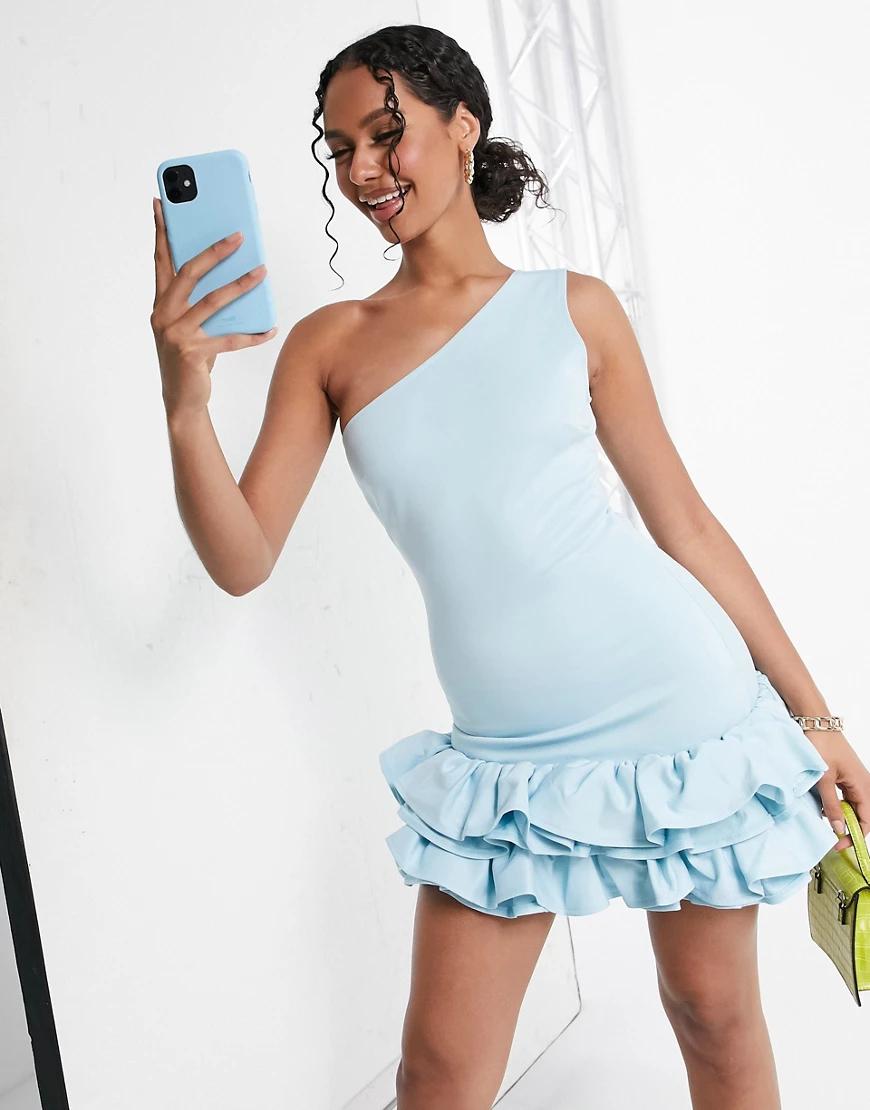 Moda Minx | Голубое приталенное платье мини на одно плечо с оборкой Moda Мiпх-Зеленый цвет | Clouty