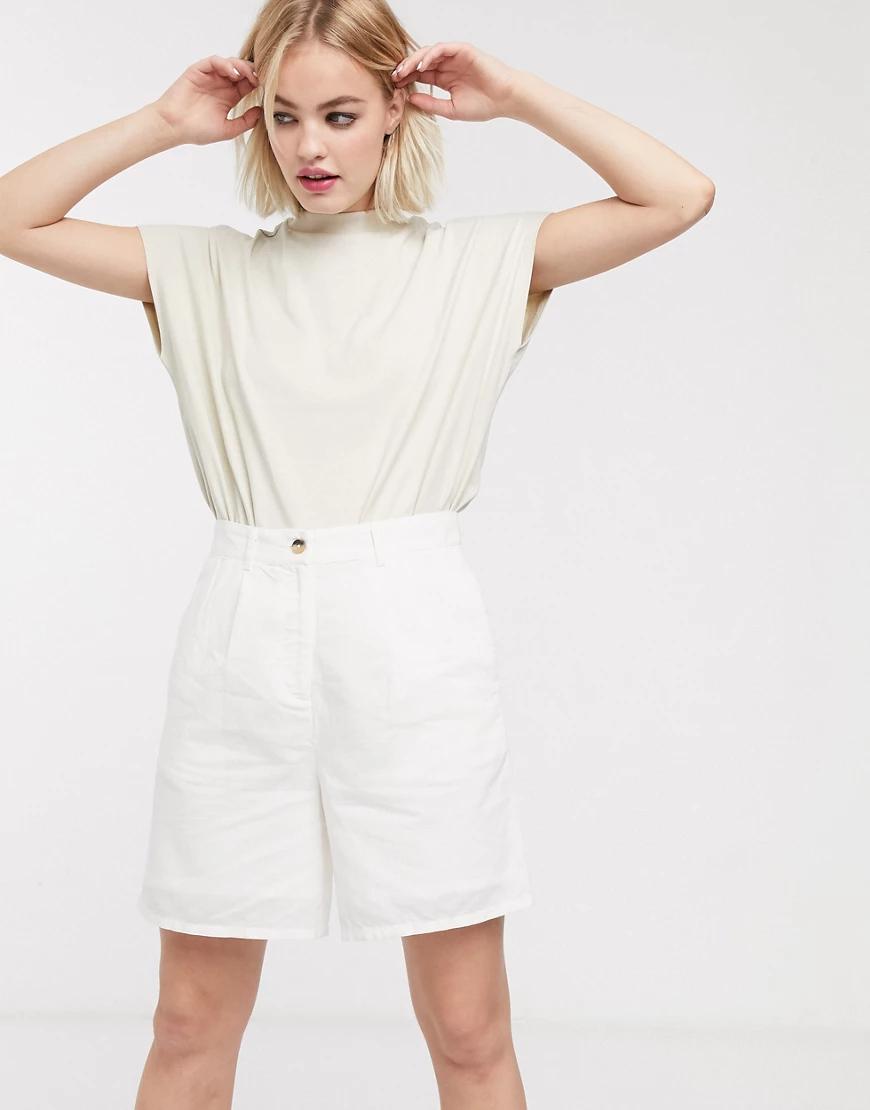 Selected | Длинные шорты с завышенной талией Selected-Бeлый | Clouty