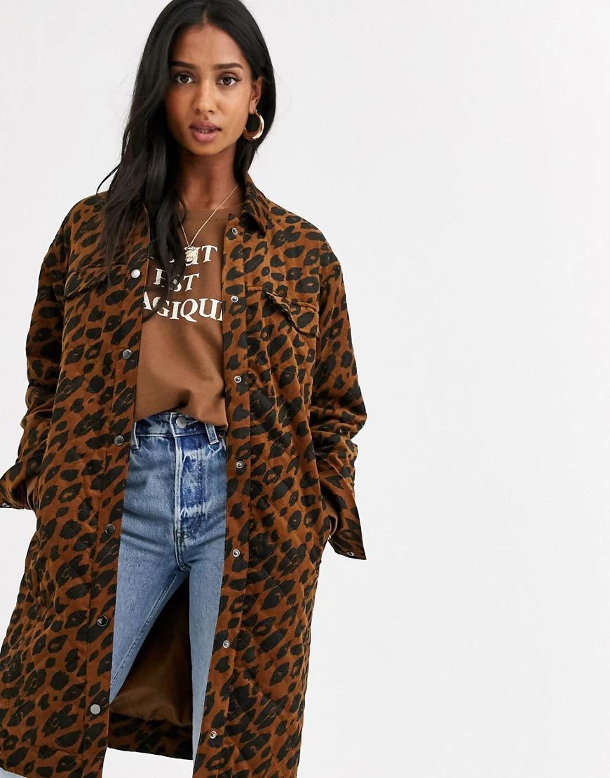 Ichi | Длинное вельветовое пальто с леопардовым принтом Iсhi-Многоцветный | Clouty