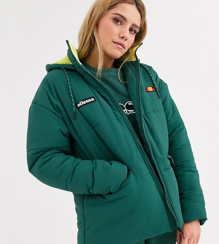 Ellesse | Дутая oversize-kypтka с логотипом и контрастной неоновой подкладкой Ellesse-Зеленый | Clouty