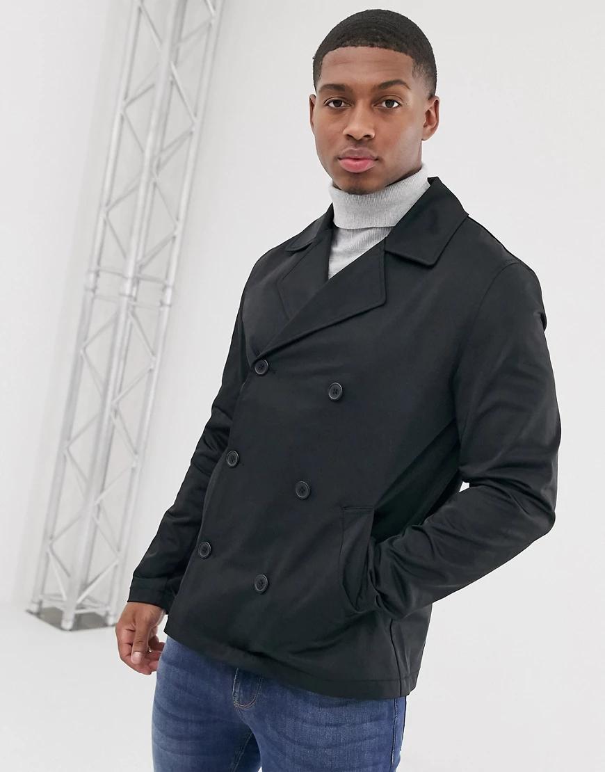 ASOS | Двубортный тренч-пальто ASOS DESIGN-Черный | Clouty