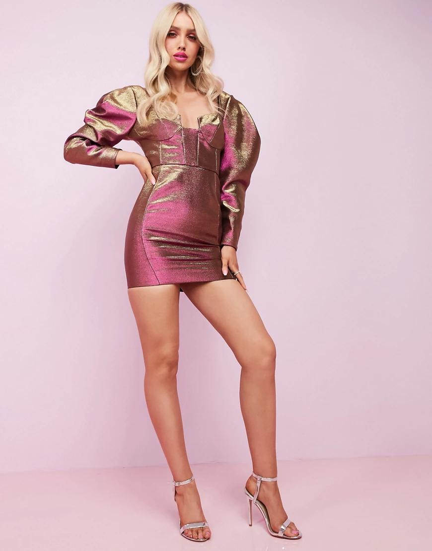 ASOS Luxe   Двухцветное платье мини с длинными рукавами ASOS DЕSIGN-Золотой   Clouty