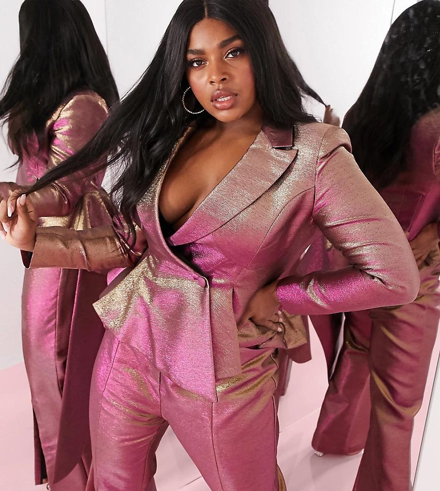 ASOS DESIGN | Двухцветный фактурный пиджак с каскадной драпировкой ASOS DESIGN Сиrvе-Золотой | Clouty