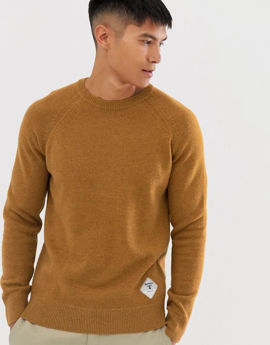 Barbour Beacon | Джемпер медного цвета из овечьей шерсти с круглым вырезом Barbour Веасоп-Оранжевый | Clouty